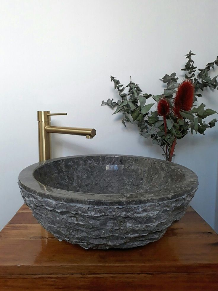 'Iris rough' Counter Top Vanity BASIN 40cm MARBLE Rough HAND CRAFTED | eBay