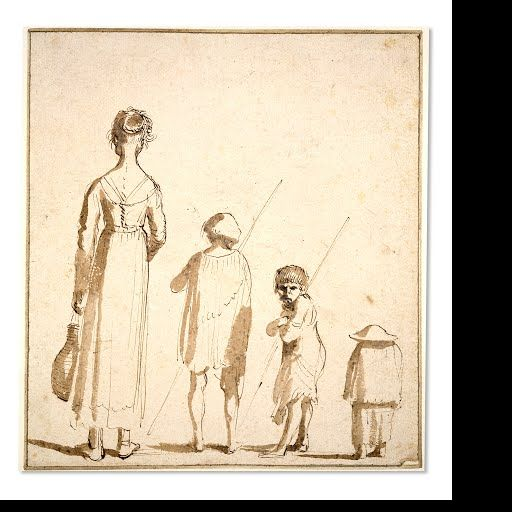 Four children stand in descending order of size. All except one turn their backs, the third figure turns round to scowl at us. The middle two boys hold sticks or perhaps fishing rods, and the tallest figure, a girl, holds a flask of wine. The sketch was executed rapidly in pen and brown ink with a light brown wash. The contrived regularity of the line of street urchins is broken up by the subtle play of the differing shadows. The brown wash provides the short shadows for each figure, as…