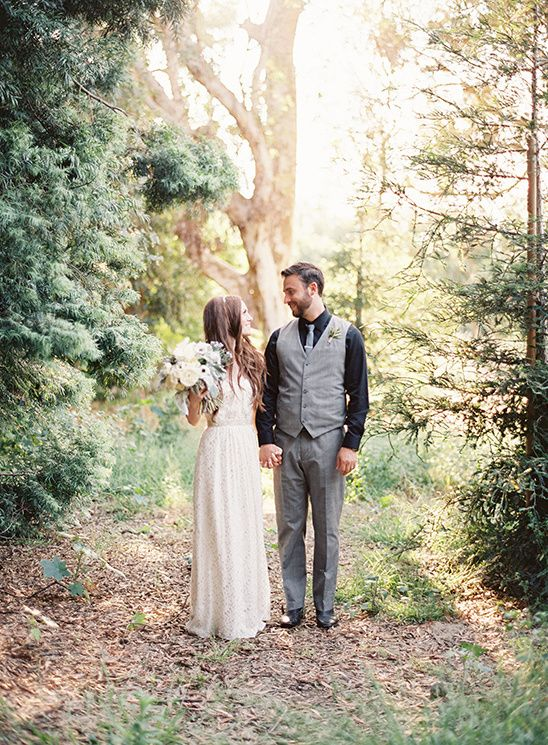 With local greenery used for the bridesmaid bouquets and pops of gold…