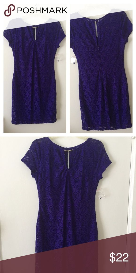 "B. SMART Dress Purple lace dress brand new- cut out back and front with gold like ornament at neckline She'll 90% Nylon, 10%Spandex- Lining 100% Polyester - Length approximate 35""-36""- armpit to armpit approximate 16"" to 16.5"" B. SMART Dresses"