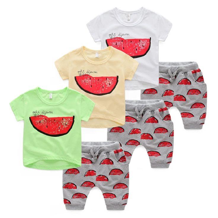$16.90 (Buy here: https://alitems.com/g/1e8d114494ebda23ff8b16525dc3e8/?i=5&ulp=https%3A%2F%2Fwww.aliexpress.com%2Fitem%2FBaby-summer-suit-children-cool-summer-boy-short-sleeved-two-piece-2016-new-children-s-leisure%2F32662598822.html ) 2016 fashion new Baby summer clothes children cool summer cute boy cotton watermelon t shirts harem pants suits sets for just $16.90