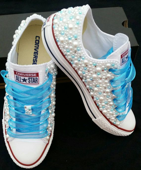 Customizable Converse- White High/ Low Top Wedding /Special Occassion Converse Covered in Bling and Pearls- Any Color- Any Size -