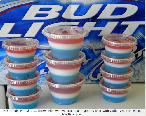 red white and blue jello shots for the 4th of july. this is not mine, i take no credit