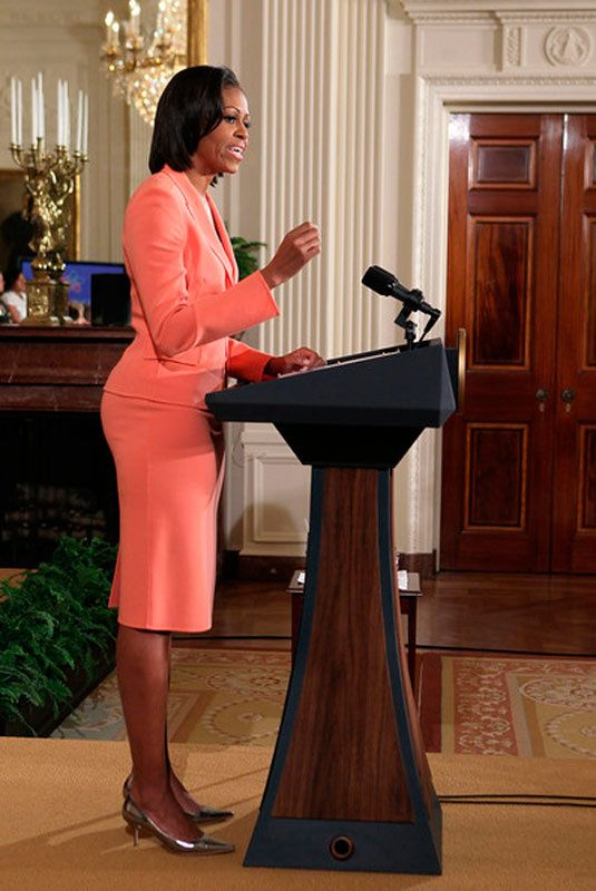 First Lady Michelle Obama (wearing Michael Kors) spoke during an event to launch Joining Forces, a national initiative to support and honor American service members and their families. April 12, 2011, East Room of the White House.