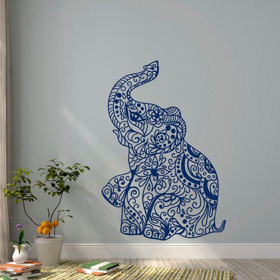 Elephant Wall Decal Stickers- Elephant Yoga Wall Decals Indie Wall Art Bedroom Dorm Nursery Boho Bohemian Bedding Decor Interior Design