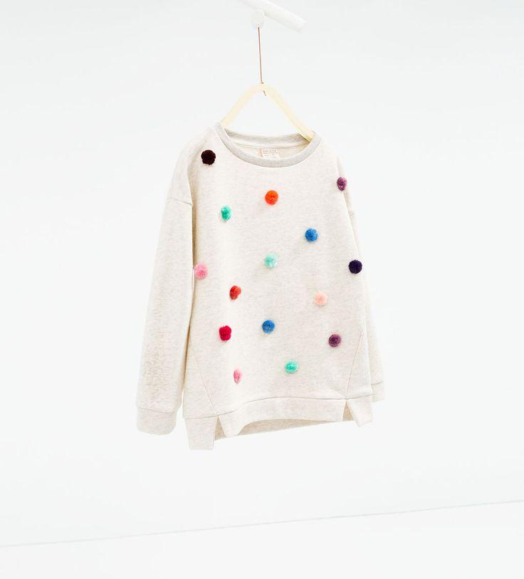 Pompoms sweatshirt-SWEATSHIRTS-GIRL   4-14 years-KIDS   ZARA United States