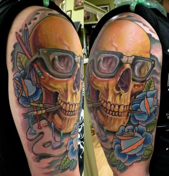 Nerd skull tattoo by Billy Beans, Tat-Nice Tattoos Huntington, West Virginia