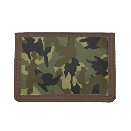 Green Camouflage Camo Trifold Nylon Mens Wallet - tap to personalize and get yours