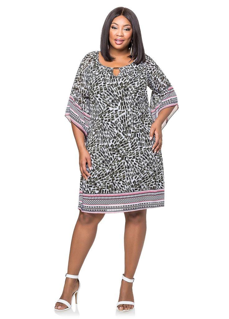 Эшли Стюарт женщин плюс размер пограничной печати шифоновое: Amazon моды