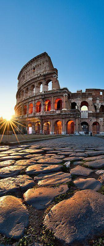 Sunrise in Coliseum, Rome, Italy