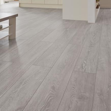 Professional v groove light grey oak laminate flooring for Grey bathroom laminate flooring