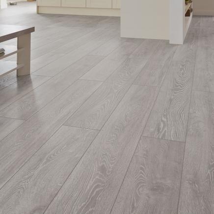 Professional V Groove Light Grey Oak laminate flooring ...