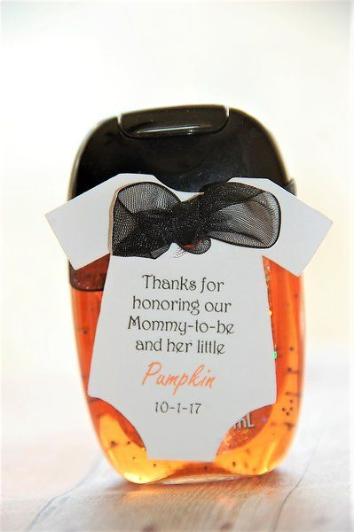 Fall Baby Shower Party Favors! Thanks for honoring our Mommy-to-be and her little pumpkin Halloween baby shower party favors! On Bath and Body works sweet cinnamon pumpkin 1fl oz hand sanitizer