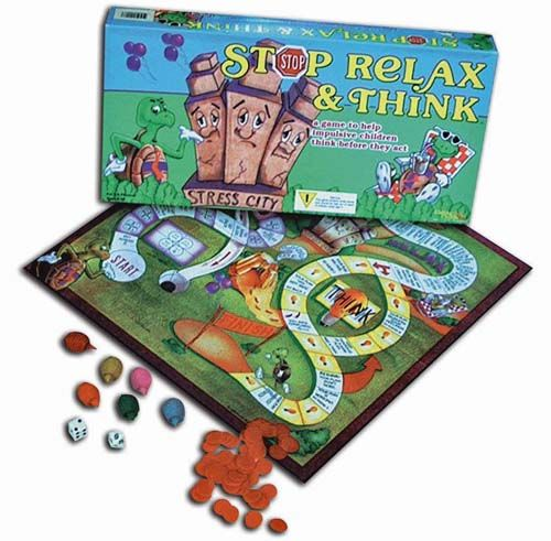 Stop, Relax, and Think Board Game- In this very popular board game, active, impulsive children learn motor control, relaxation skills, how to express their feelings and how to problem-solve. The manual includes information on how the game can be used both as a diagnostic and a treatment tool, and how behaviors learned in the game can be generalized for the home or classroom.