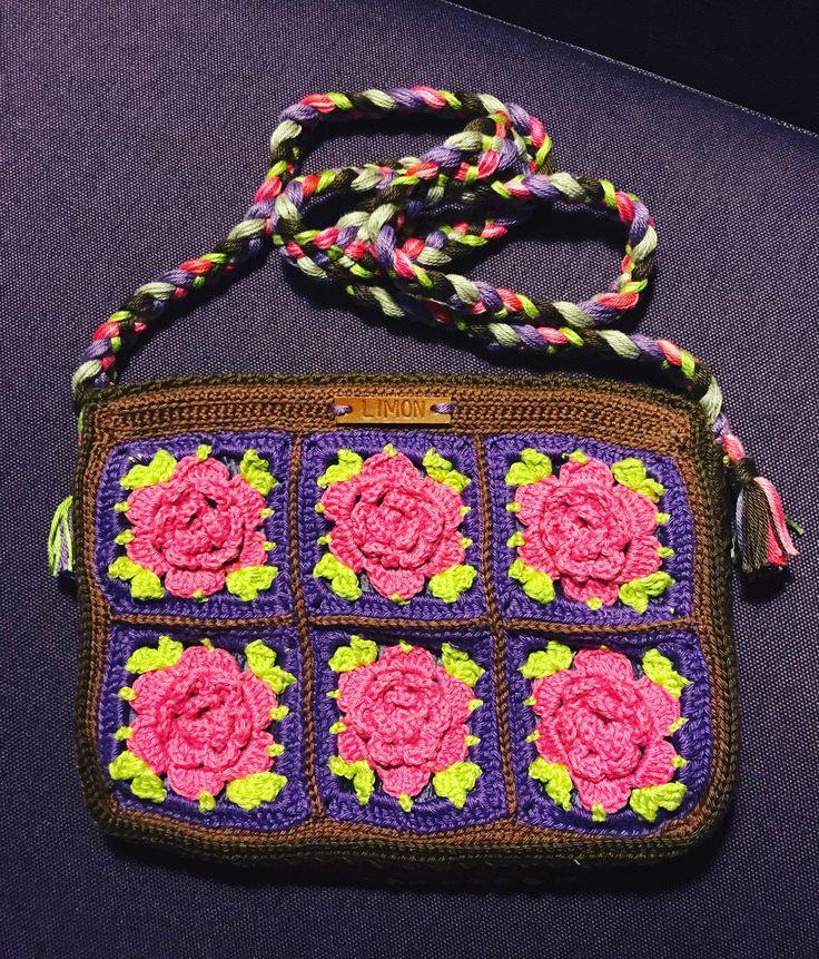 Granny square handtasje, met gevlochten band
