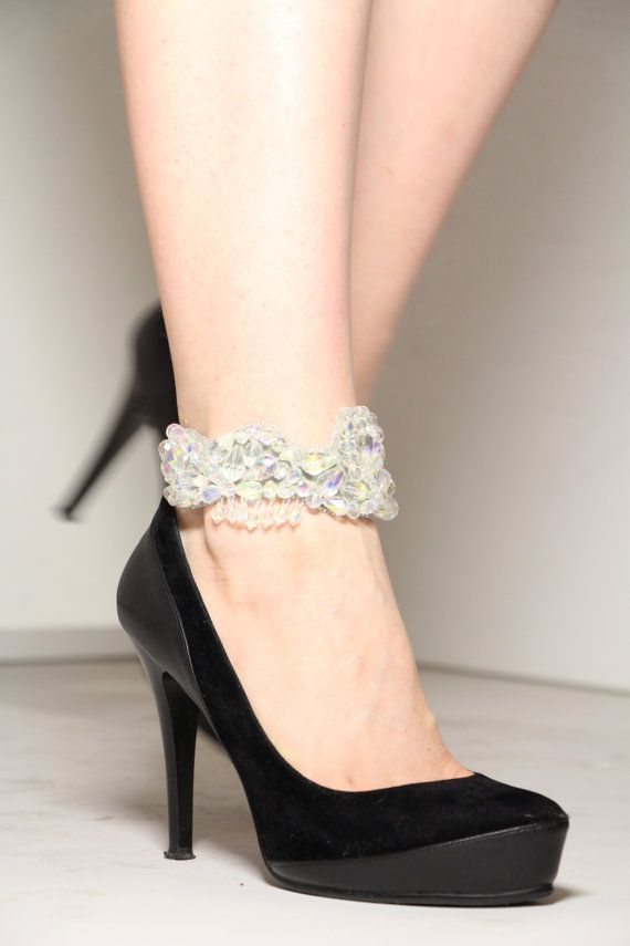 Transparent women ankle cuff - summer weddings fashion anklet - bride legs accessories - weddings shoes bracelet - exclusive designer jewelry by