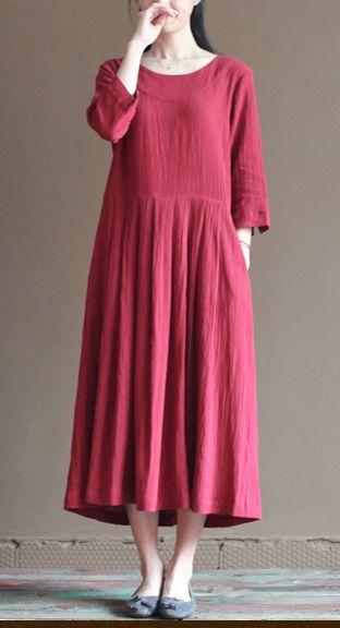 2016 red linen dress. long sundress plus size summer maxi dresses loose linen clothing