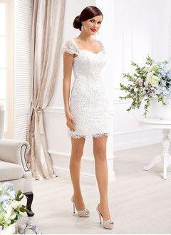 Sheath/Column Sweetheart Short/Mini Lace Wedding Dress
