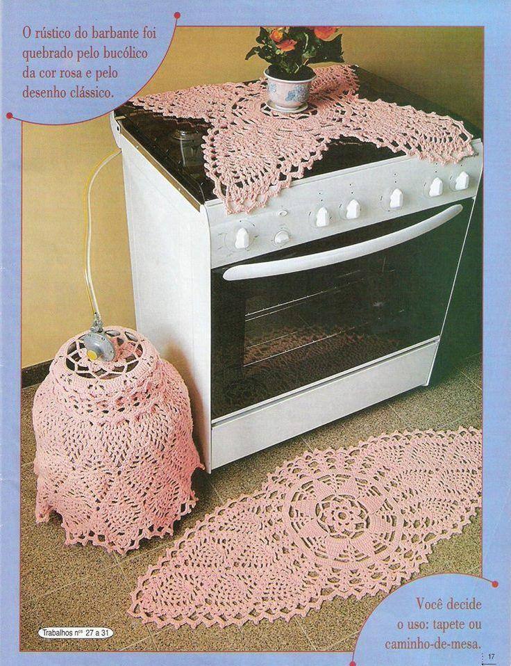 Jogo de cozinha com ponto abacaxi em crochê
