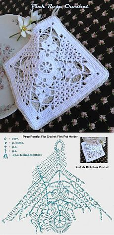 Lace crochet block with pattern