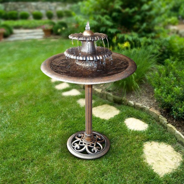 NEW Bronze Garden Fountain Outdoor Decor Water Bird Bath Birdbath 3 Tier W  Pump