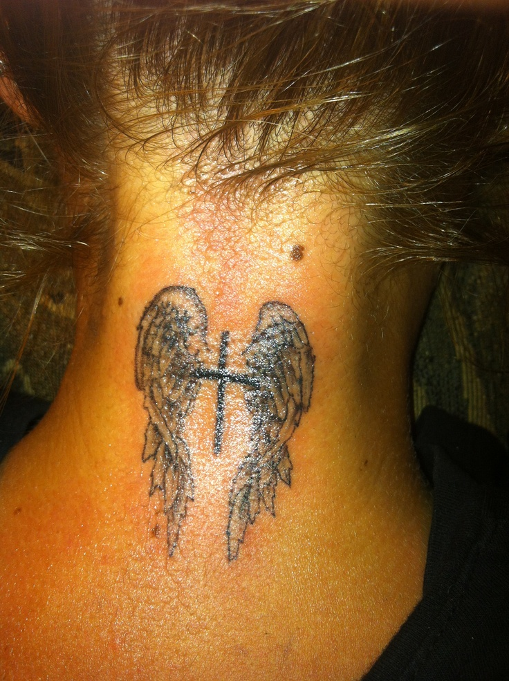 Angel Wings Tattoo With Cross Pics Download