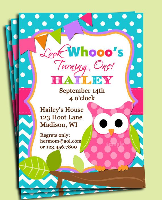 Girl Owl Invitation Printable  Birthday or Baby by ThatPartyChick. I love this invitation for the baby shower.