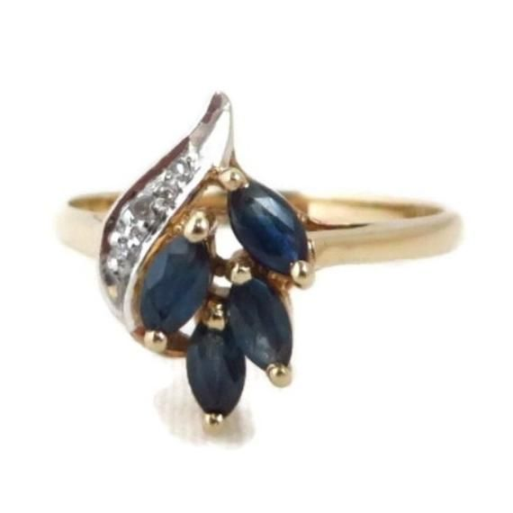 Sapphire Diamond Ring Vintage 10k Yellow Gold Marquise Etsy In 2020 Sapphire Diamond Ring Vintage Vintage Sapphire Ring Gold Sapphire Ring