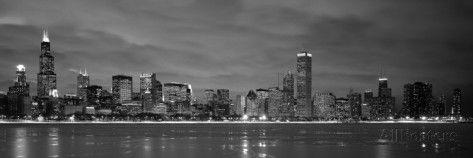 Chicago - B&W Reflection Impressão fotográfica