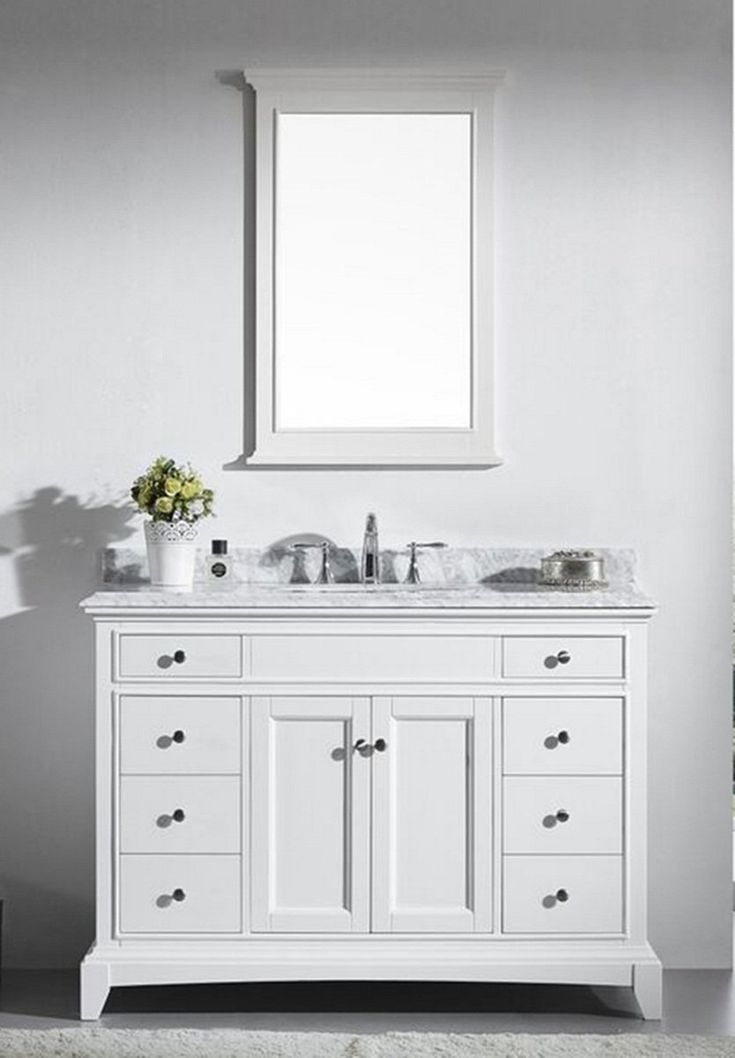 48 Inch White Bathroom Vanity Set With White Carrera Marble Top Favorites Pinterest Marble