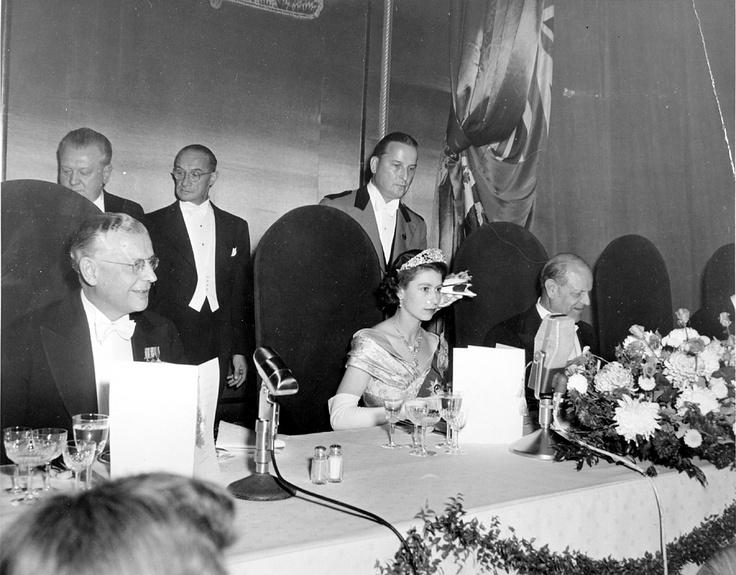 The Royal State dinner for Princess Elizabeth and Prince Philip, the Duke of Edinburgh, October 13, 1951 at The Fairmont Royal York