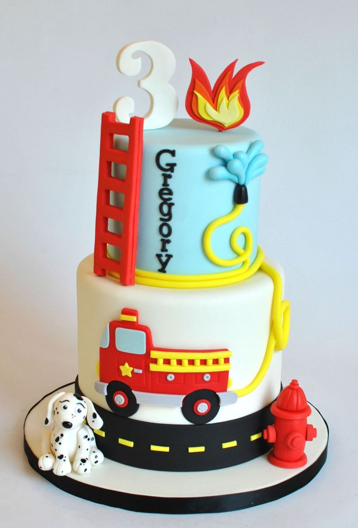 21+ wundervolles Bild von Feuerwehrmann Geburtstagstorte Feuerwehrmann Geburtstagstorte Feuerwehrauto Kuchen   – anniversaire 3 ans