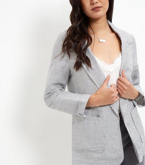 Blue Linen Mix Stripe Patch Pocket Blazer  | New Look