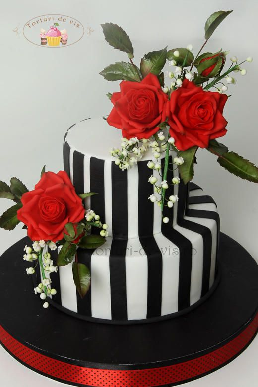 Stripes and red roses
