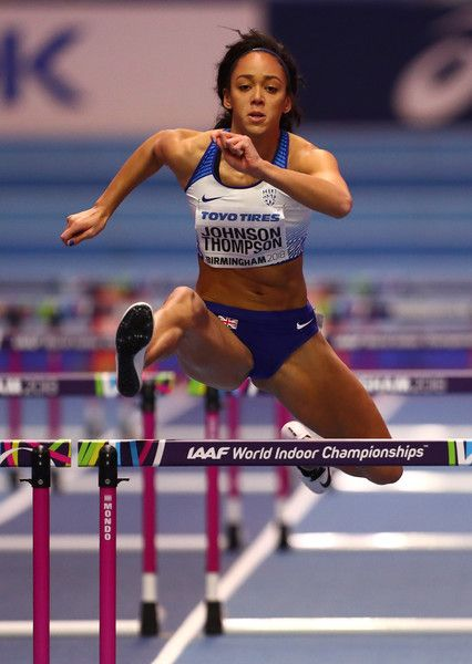 Katarina Johnson-Thompson of Great Britain competes in the 60 Metres Hurdles Womens Pentathlon during the IAAF World Indoor Championships on Day Two at Arena Birmingham on March 2, 2018 in Birmingham, England.