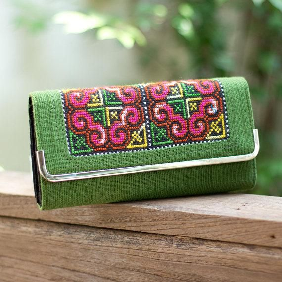 Changnoi Hmong Embroidered Red Floral Wallet for Woman with Genuine Leather Bohemian Wallet