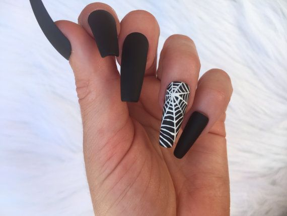 Ten Long Coffin Nails Matte Blue With Bats On The Accent Nail Halloween Nail Designs Coffin Nails Long Halloween Nails