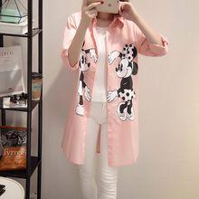 5xl plus tamaño grande tops blusas feminina 2016 corea primavera mujeres del estilo del verano camisas mickey imprimir delgado camisas de color rosa femenino A0966(China (Mainland))