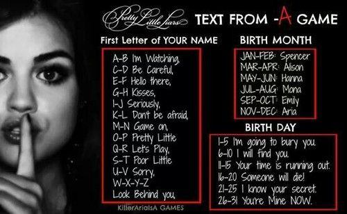 #PLLgames mine is Don't be afraid, Hanna. You're Mine, NOW. -KISSES A comment below what yours is.