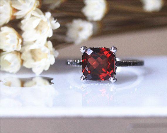 Black Diamonds Wedding Ring 8mm Cushion Natural Garnet Ring Solid 14K White Gold Wedding Ring Promise Ring Engagement Ring Anniversary Ring