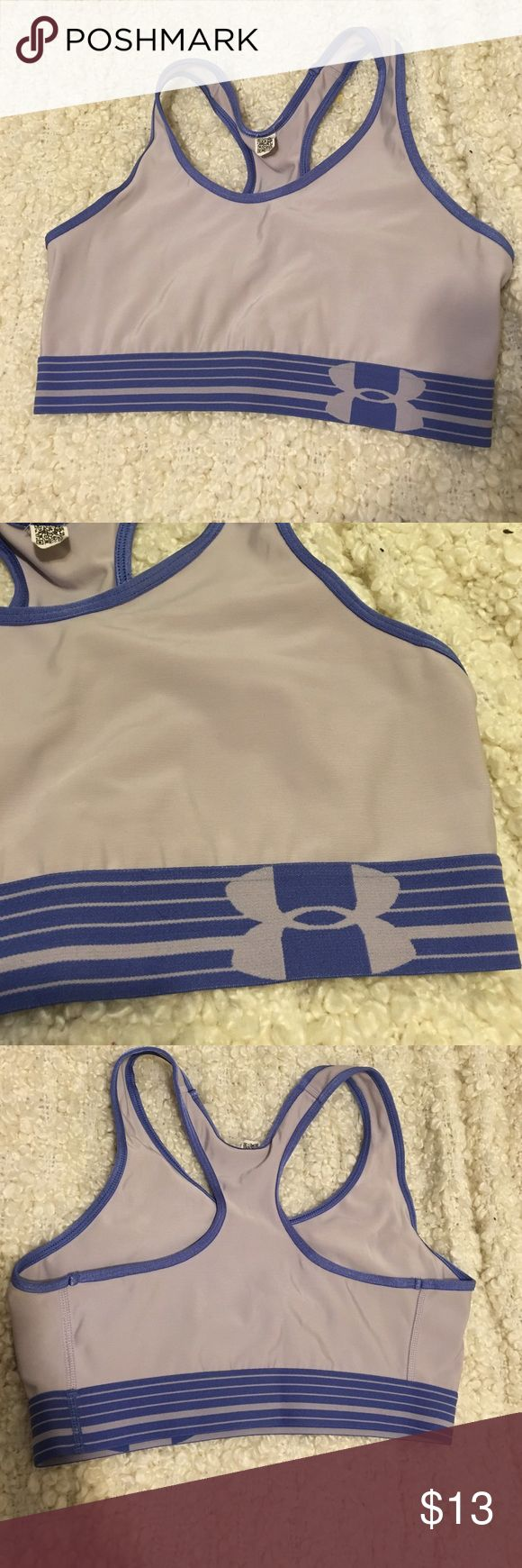 Under armour sports bra Just a little too snug for me! Good condition. Clean. No stains or rips ☺️🙌🏼 ask any questions you have! Price relatively firm unless bundled. If you would like to bundle I may be willing to increase the bundle discount depending on the items you are interested in. Please leave a comment! The tag is gone but I only typically buy M sports bras. The material is silky / soft feeling and the bottom is a thick elastic band material. Under Armour Intimates & Sleepwear…