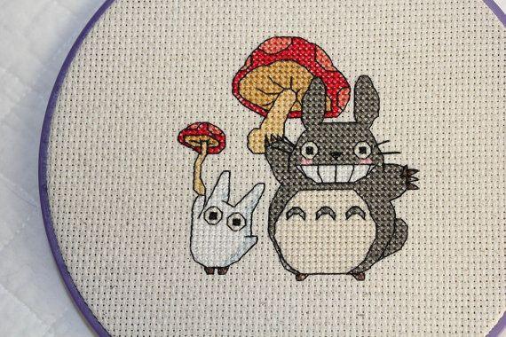 PATTERN: Totoro and Mushroom Cross Stitch by epickawaii on Etsy