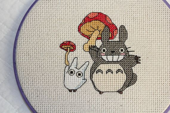 PATTERN: Totoro and Mushroom Cross Stitch by epickawaii on Etsy