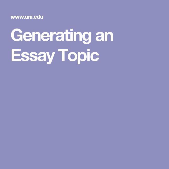 Generating an Essay Topic