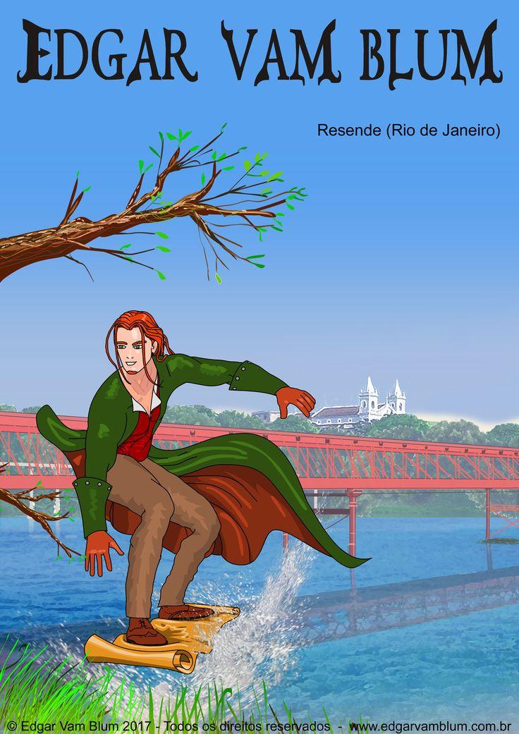 O charmoso cavaleiro Edgar Vam Blum na cidade de Resende, RJ - Brasil. Com seu pergaminho mágico ele sobrevoa o Rio Paraíba do Sul a procura da guardiã das águas. É um bela sereia cujo nome é impronunciável para um ser humano normal. No entanto, o cavaleiro ruivo  conhece bem o nome sobrenatural dela e também seus beijos encantados.#edgarvamblum #digitalart #desenho #draw #drawing #painting #resende #riodejaneiro #rioparaiba #aventura #fantasia #magia #sereia #pamelaedavi #debujo #diseño…