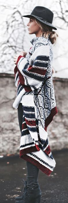 long patterned cardigan + hat
