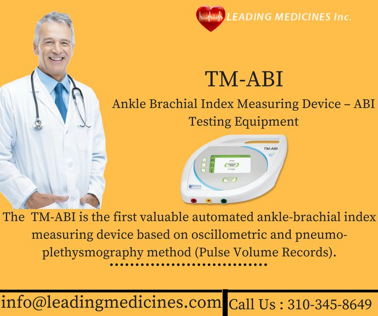 The TM-ABI is the first valuable automated ankle-brachial index measuring device based on oscillometric and pneumo-plethysmography method (Pulse Volume Records). The blood pressure on the upper and lower extremities is measured simultaneously, resulting in the calculation of the anklebrachial index (ABI). @leadingmedicine  call at (310-345-8649) now
