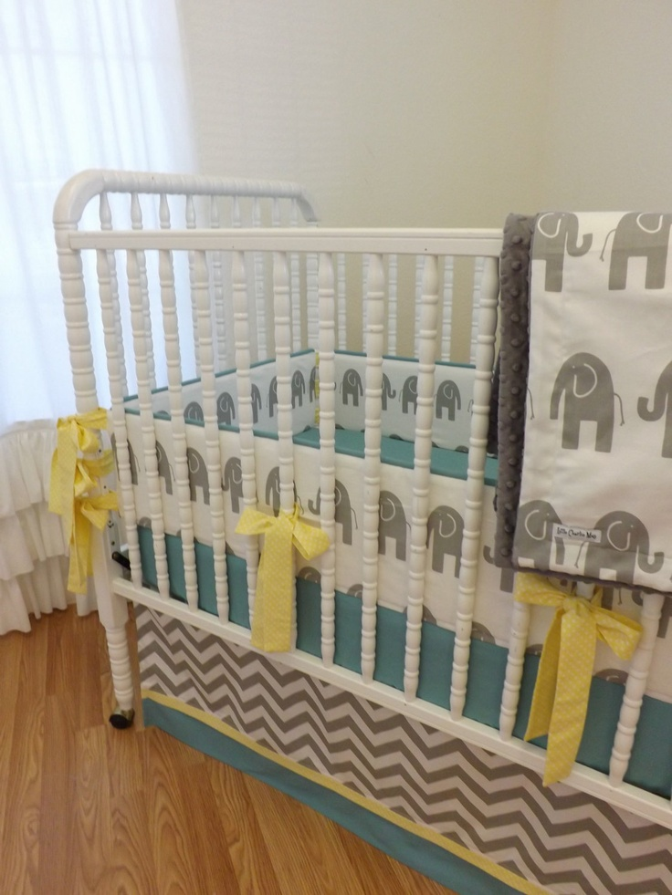 Baby bedding made to order 4 pc modern elephant crib bedding set via etsy baby boy - Modern baby bedding sets ...