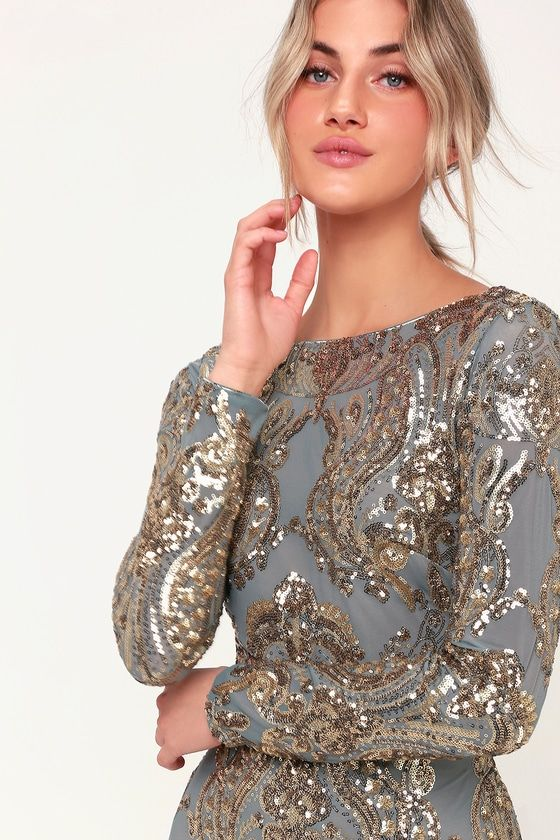 2b74d81c75 Lola Light Blue and Gold Sequin Long Sleeve Bodycon Dress in 2019 ...