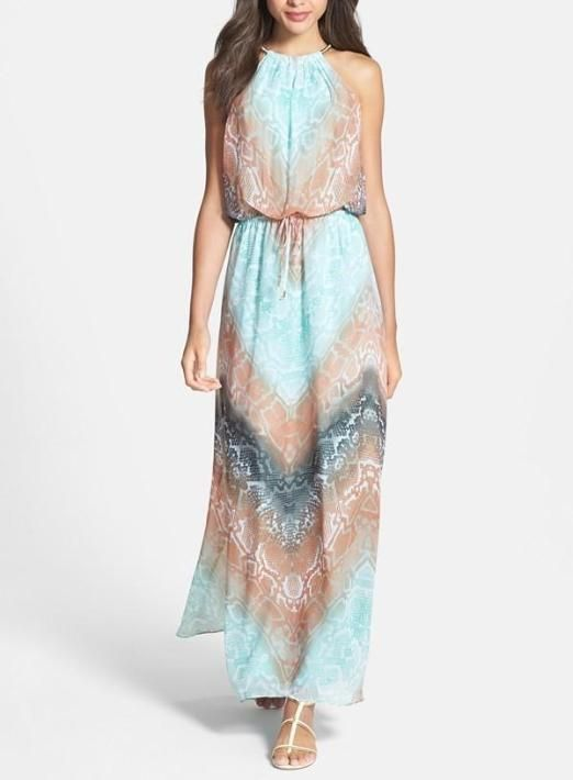 Love this coral and blue maxi dress
